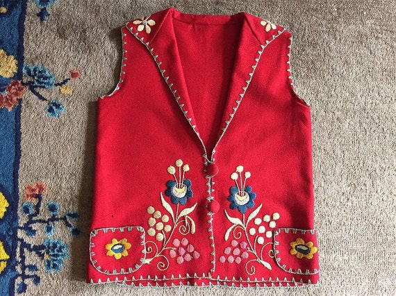 Antique Arts & Crafts embroidered folk vest RARE!