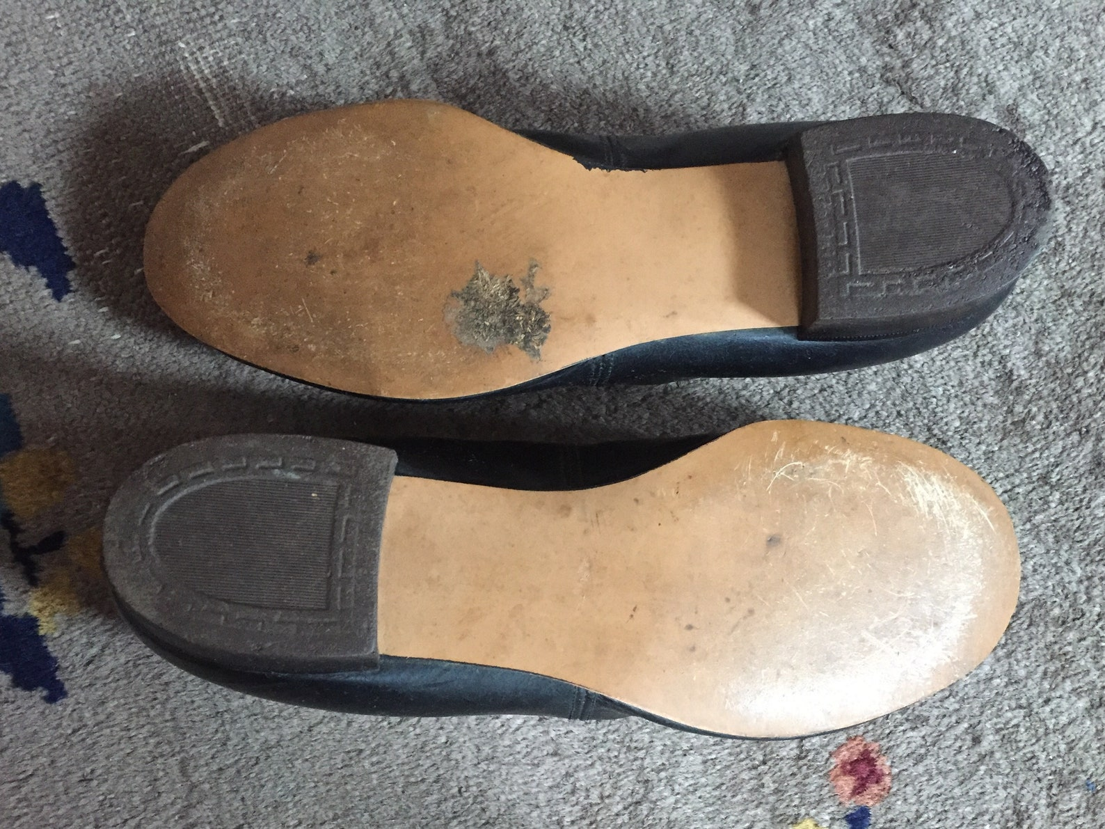 rare early pierrot-style shoes   ballet-style shoes with pom poms