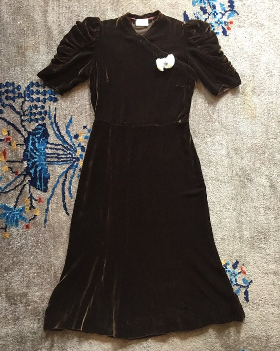1930s silk velvet dress | Amazing sleeves!