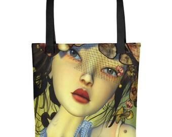"15"" x 15"" Tote bag diva bag couture bag fashion bag shopping bag flower bag overnight bag durable weather resistant gift bag"