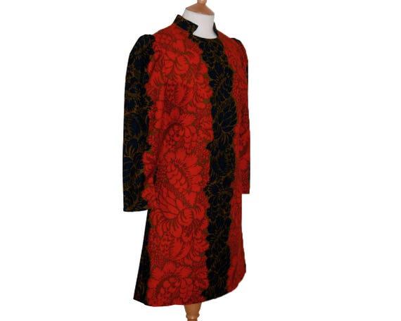 Wedding guest dress, boho 60s dress, floral shift
