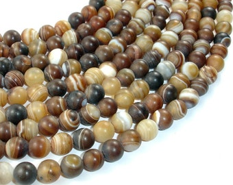Matte Banded Agate Beads, 8mm(8.5mm) Round Beads, 15 Inch, Full strand, Approx 48 beads, Hole 1 mm (132054010)