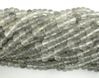 Gray Quartz Beads, 4mm (4.5mm) Round Beads, 15.5 Inch, Full strand, Approx 93 beads, Hole 0.8mm, A quality (242054004)