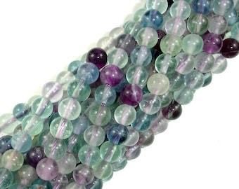 Fluorite Beads, Rainbow Fluorite, Round, 6mm, 15.5 Inch, Full strand, Approx 65 beads, Hole 1 mm (224054009)