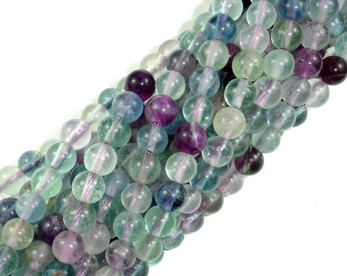 Fluorite Beads, Rainbow Fluorite, Round, 6mm, 15.5 Inch, Full strand, Approx 65 beads, Hole 1 mm (224054009)