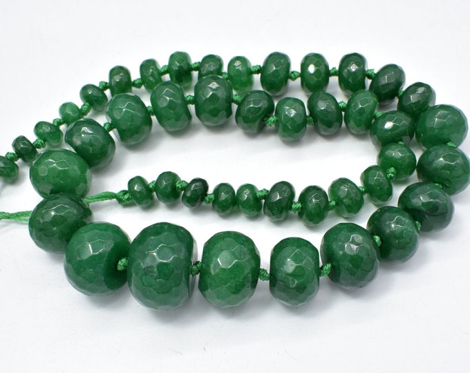 Jade-Green Beads, 5x8-14x20mm Graduated Faceted Rondelle Beads, 19 Inch, Full strand, Approx 45 beads, Hole 1mm (211151003)