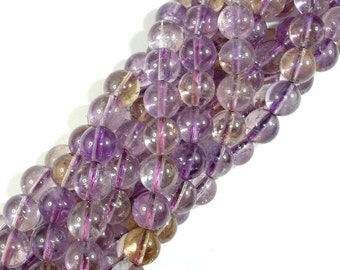 Ametrine, 8mm Round Beads, 15.5 Inch, Full strand, Approx 49 beads, Hole 1 mm, A quality (116054005)