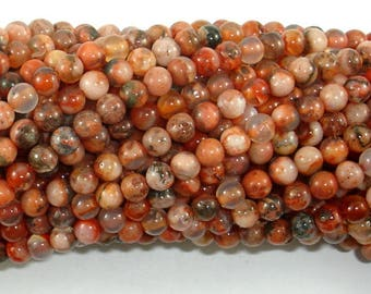 Agate Beads, Orange, 4mm(4.3mm) Round Beads, 16 Inch, Full strand, Approx 98 beads, Hole 0.8mm (122054237)