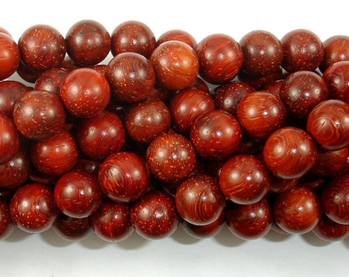 Red Sandalwood Beads, 10mm Round Beads, 42 Inch, Full strand, Approx 108 Beads, Mala Beads (011733006)