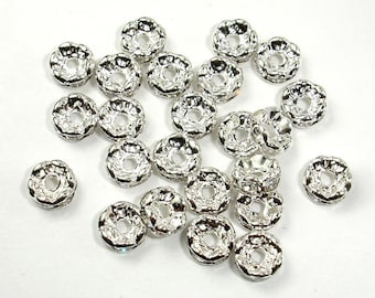 Rhinestone, 6mm/8mm/10mm,Finding Spacer Round,Clear,Silver plated Brass,20 pieces, Hole 1.5mm/1.8mm/2.4mm, AA quality(006870001011010)