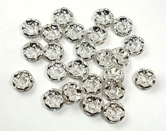 Rhinestone Beads,6mm/8mm,Finding Spacer Round,Clear,Silver plated Brass,20 pieces, 3-3.5mm thick, Hole 1.5mm/1.8mm, AA quality(006870001011)
