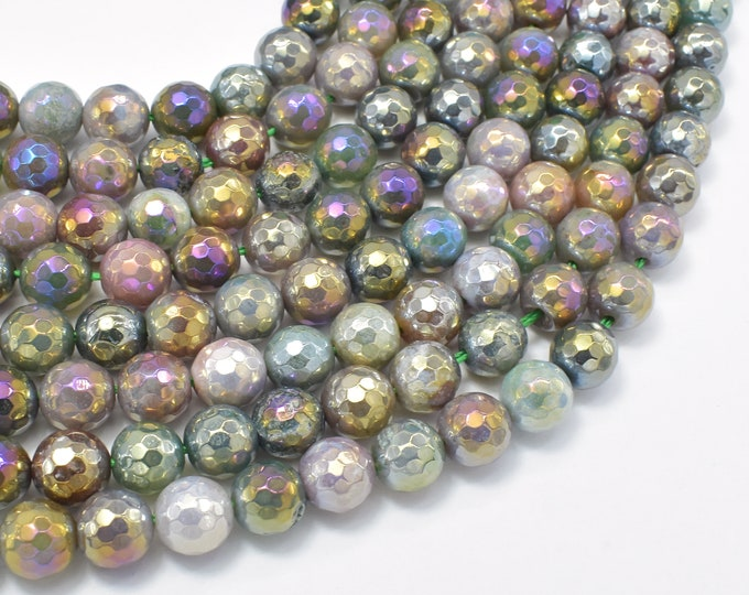Mystic Coated Indian Agate, Fancy Jasper, 8mm (8.3mm) Faceted Round, AB Coated, 15 Inch, Full strand, Approx 47 beads, Hole 1mm (282025007)