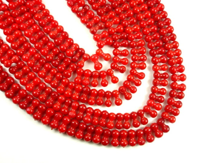 Red Bamboo Coral Beads, 4mm x 9mm Top Drilled Peanut Beads, 16 Inch, Full strand, Approx 100 beads, Hole 0.5 mm (368077001)