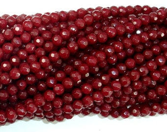 Ruby Jade Beads, 4mm (4.4 mm) Faceted Round Beads, 15.5 Inch, Full strand, Approx 90 beads, Hole 0.8 mm, A quality (211025013)