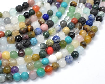 Mixed Stone, 6mm(6.4mm) Round Beads, 15.5 Inch, Full strand, Approx 61 beads, Hole 1mm (318054012)