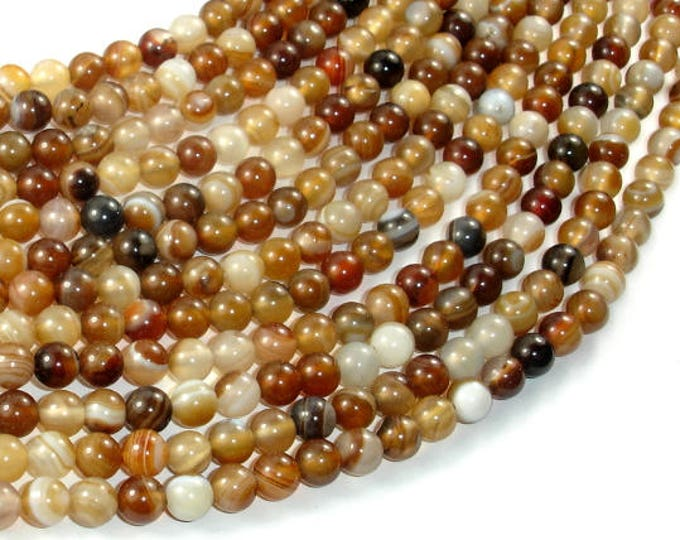 Banded Agate Beads, Brown, 6mm(6.3mm) Round Beads, 15 Inch, Full strand, Approx 64 beads, Hole 1mm (132054054)