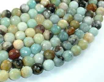 Amazonite, 10mm ( 10.5 mm) Faceted Round Beads, 15 Inch, Full strand, Approx 37 beads, Hole 1mm (111025003)