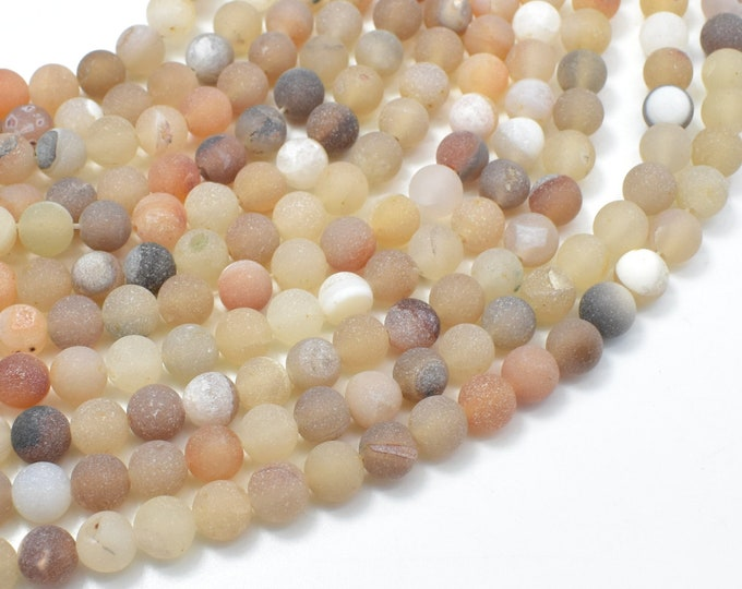 Druzy Agate Beads, Geode Agate Beads, 6mm (6.3mm) Round Beads, 15 Inch, Full strand, Approx 62 beads, Hole 1mm (122054280)