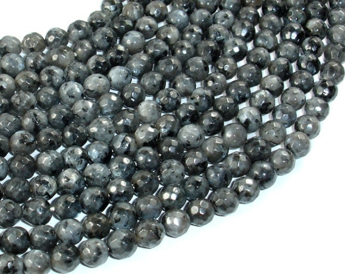 Black Labradorite, Larvikite, 6mm Faceted Round Beads, 14 Inch, Full strand, Approx 59 beads, Hole 1mm, A quality (137025005)