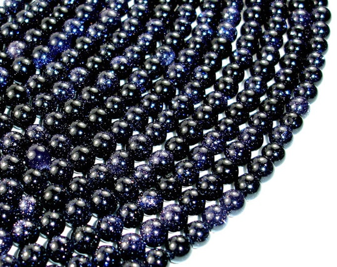 Blue Goldstone Beads, 6mm(6.4mm) Round Beads, 15 Inch, Full strand, Approx 63 beads, Hole 1 mm, A quality (164054002)