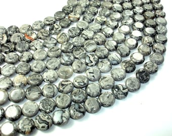 Gray Picture Jasper Beads, 12mm Coin Beads, 16 Inch, Full strand, Approx 33 beads, Hole 1 mm, A quality (141008002)