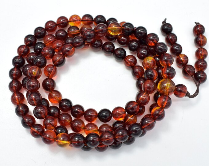 Amber Resin-Red, 8mm Round Beads, 33 Inch, Approx 108 beads, Full strand, Hole 1mm, Imitatiom Amber (113054005)