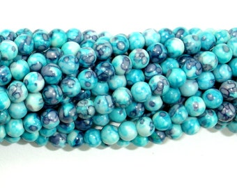 Rain Flower Stone Beads, Blue, 4mm (4.5mm) Round Beads, 16 Inch, Full strand, Approx 94 beads, Hole 0.8 mm, A quality (377054004)