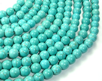 Howlite Turquoise Beads, Round, 8mm, 15.5 Inch, Full strand, Approx 52 beads, Hole 1.2 mm (213054003)