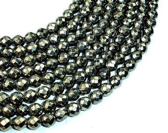 Pyrite Beads, Faceted Round, 6mm, 15.5 Inch, Full strand, Approx 64 beads, Hole 0.8 mm (361025002)