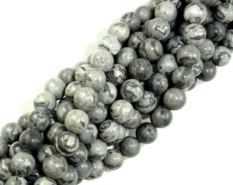 Gray Picture Jasper Beads, Round, 6mm (6.6mm), 15.5 Inch, Full strand, Approx 60 beads, Hole 1 mm, A quality (141054001)