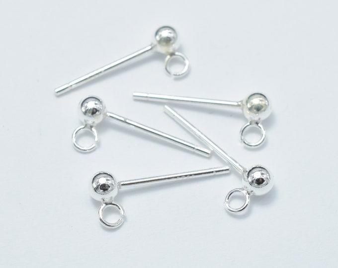 10pcs (5pairs) 925 Sterling Silver Ball Earring Stud Post with Open Loop, 14mm, 3mm Ball, Hole 1.5mm (007908014)
