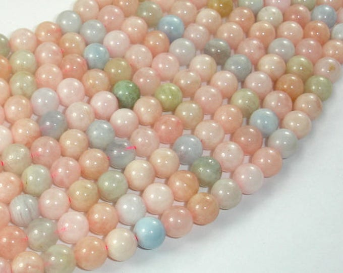 Beryl Beads, Aquamarine, Morganite, Heliodor, 7.5mm Round Beads, 15.5 Inch, Full strand, Approx 55 beads, Hole 1mm (133054008)