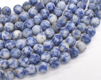 Matte Blue Spot Jasper, 8mm (8.5mm) Round Beads, 15 Inch, Full strand, Approx 76 beads, Hole 1mm, A quality (153054007)