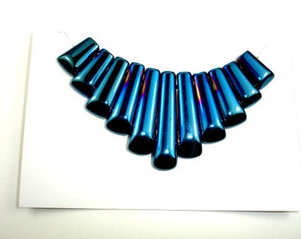 Quartz Beads, Coated Blue, Top Drilled Graduated Stick, 10 x 16mm - 10 x 40 mm, 11 pieces - 1 Set, Hole 1 mm (362059005)