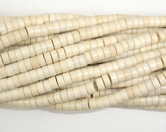 White Howlite Beads, 2x4mm Heishi Beads, 15.5 Inch, Full strand, Approx 180 beads, Hole 1mm (275041006)