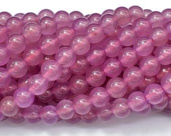 Jade Beads-Mauve, 8mm Round Beads, 15 Inch, Full strand, Approx 49 beads, Hole 1mm (211054192)
