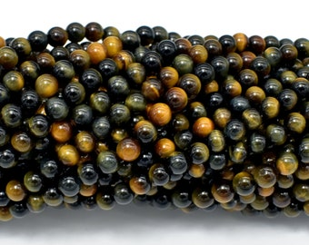 Blue / Yellow Tiger Eye, 4mm (4.3mm) Round Beads, 15.5 Inch, Full strand, Approx 98 beads, Hole 0.6mm, A+ quality (426054035)