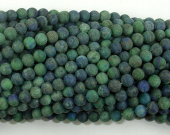 Matte Azurite Malachite Beads, 4mm (4.6mm) Round Beads, 15.5 Inch, Full strand, Approx 88 beads, Hole 0.8mm, A quality (129054012)