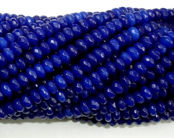 Blue Jade Beads, Faceted Rondelle, Approx 2 x 4mm (2.5 x 4.2 mm), 15 Inch, Full strand, Approx 150 beads, Hole 0.6 mm, A quality (211024009)