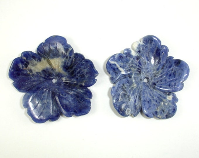 Sodalite Pendant, Carved Flower Pendant, Approx 40x40-44x44 mm, 1 piece, Centre Hole 2 mm (PNDT9)