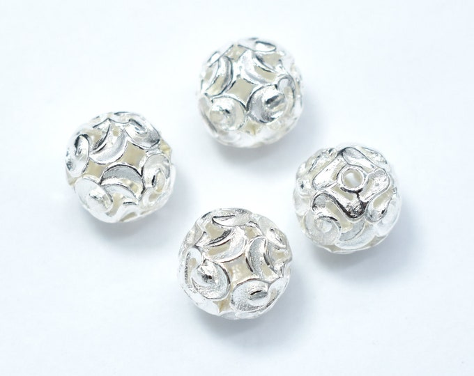 2pcs 10mm 925 Sterling Silver Beads, 10mm Round Beads, Jewelry Findings, Hole 1.4mm (007903005)