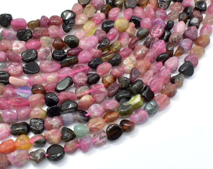 Watermelon Tourmaline, 6x7mm Nugget Beads, 16 Inch, Full strand, Approx 60-65 beads, Hole 1mm (427047002)