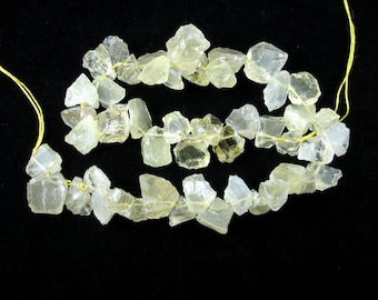 Lemon Quartz Beads, raw rough, Appeox (10-15)x(12-20)mm Top Drilled Nugget Beads, 16 Inch, Full strand, 45-48 beads, Hole 0.8 mm (304047003)