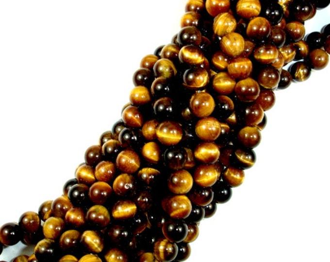 Tiger Eye, Round, 6mm(6.5mm), 15.5 Inch, Full strand, Approx 62 beads, Hole 1mm(426054002)