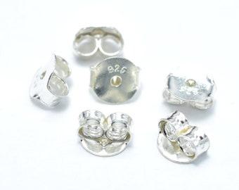 10pcs 925 Sterling Silver Earnuts, Butterfly Backings,5.4x5x2.7mm (007908002)
