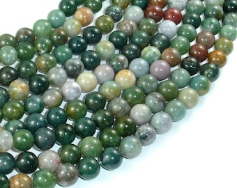 Indian Agate Beads, Fancy Jasper Beads, 8mm (8.5mm) Round Beads, 15.5 Inch, Full strand, Approx 47 beads, Hole 1mm (282054001)