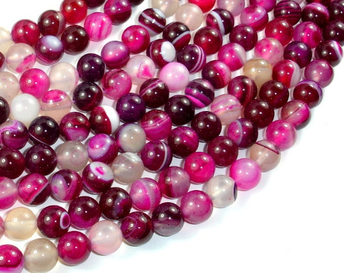 Banded Agate Beads, Fuchsia Agate, 8mm Round Beads, 15.5 Inch, Full strand, Approx 48 beads, Hole 1mm (132054019)