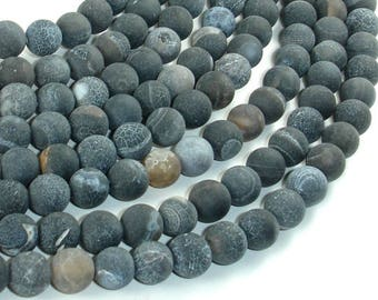 Frosted Matte Agate - Gray, 8mm Round Beads, 15 Inch, Full strand, Approx 48 beads, Hole 1 mm (122054180)