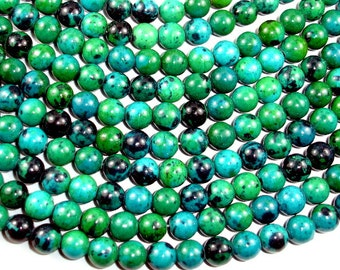 Chrysocolla, 8mm(8.5mm) Round Beads, 15.5 Inch, Full strand, Approx 48 beads, Hole 1 mm, A quality,Reconstituted (196054008)