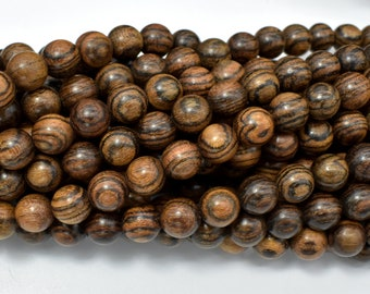 Tiger Skin Sandalwood Beads, 8mm Round Beads, 35 Inch, Full strand, Approx 108 Beads, A+ quality (011744004)